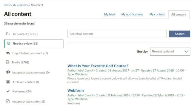 Content reviews page screenshot