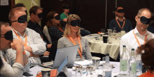 Workshop demonstrating screenreaders to blindfolded participants