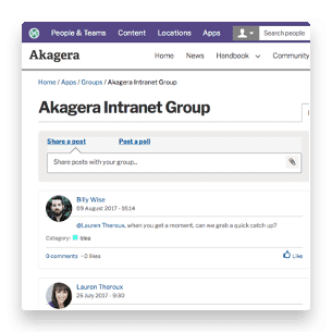 Social intranet group page