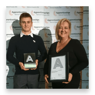 ross blythe and alison galvin holding awards
