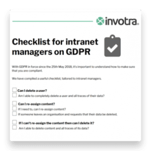 GDPR intranet managers checklist
