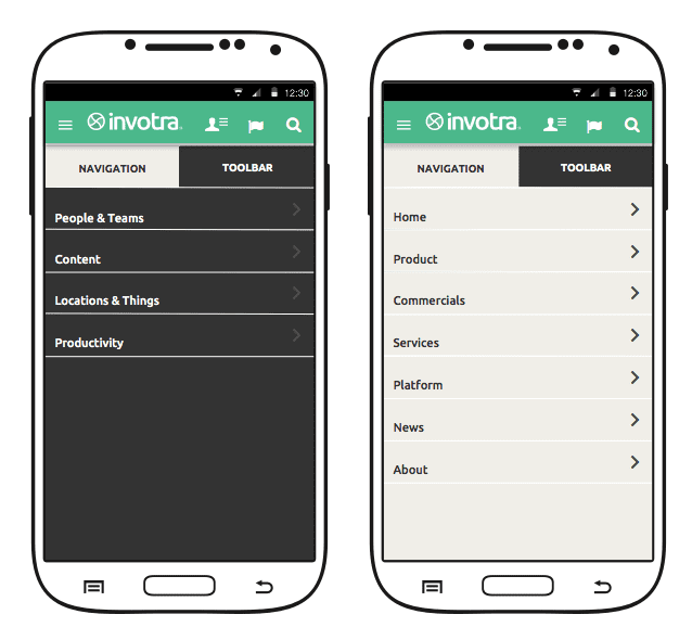 The Invotra mobile app intranet and portal menu