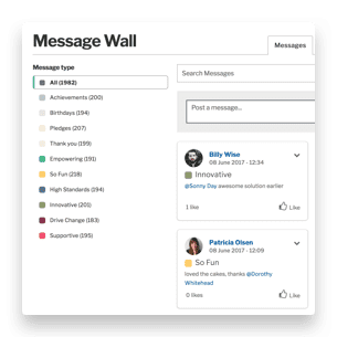 message wall categories and posts