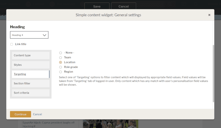 content targeting options in the general settings widgets