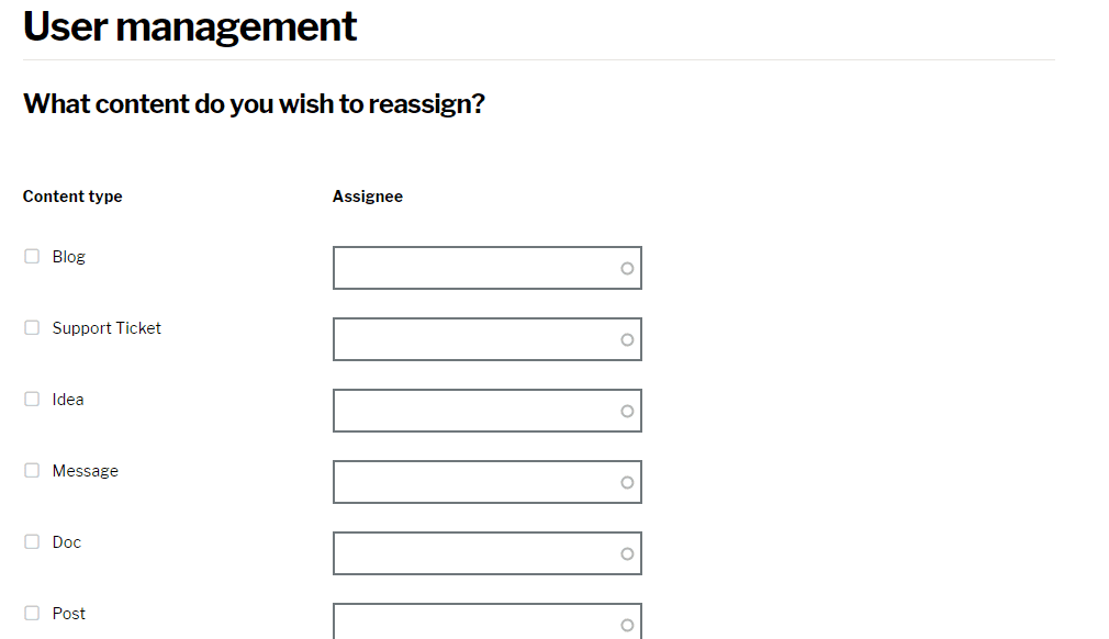 Content reassignment page for anonymous users
