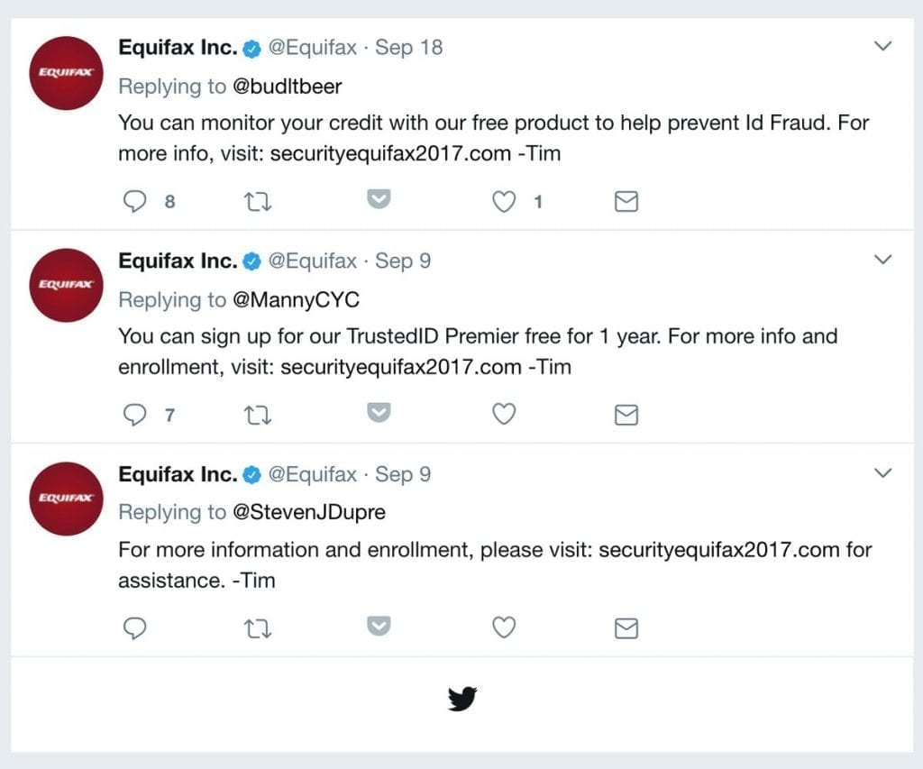 3 Equifax tweets containing fake links