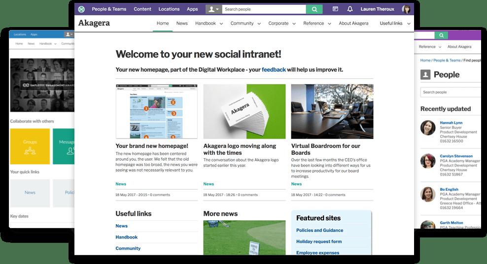 Invotra intranet screens