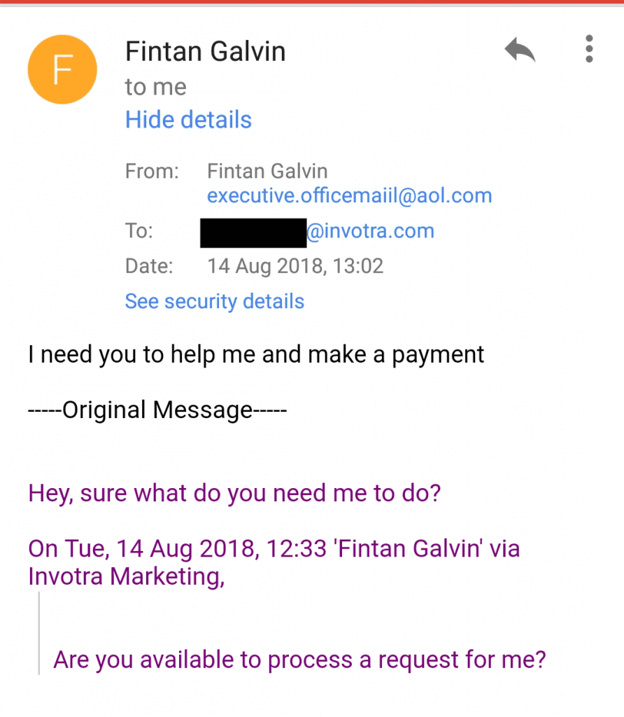 phishing email received by Invotra