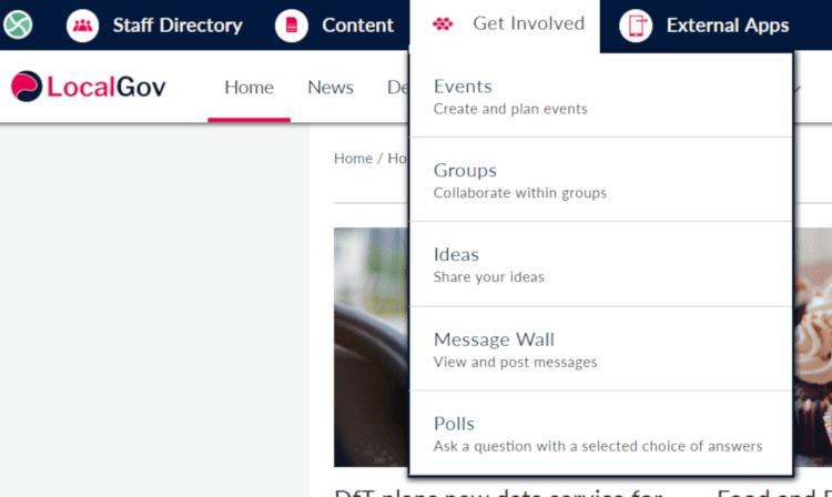 Intranet menu for intranet applications