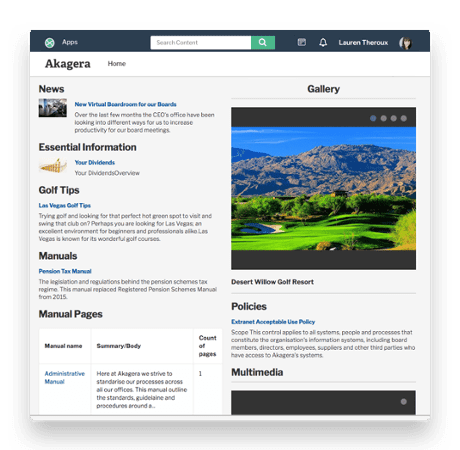 screenshot of collaboration screens for intranet and extranet blog
