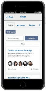 Mobile view of group search results
