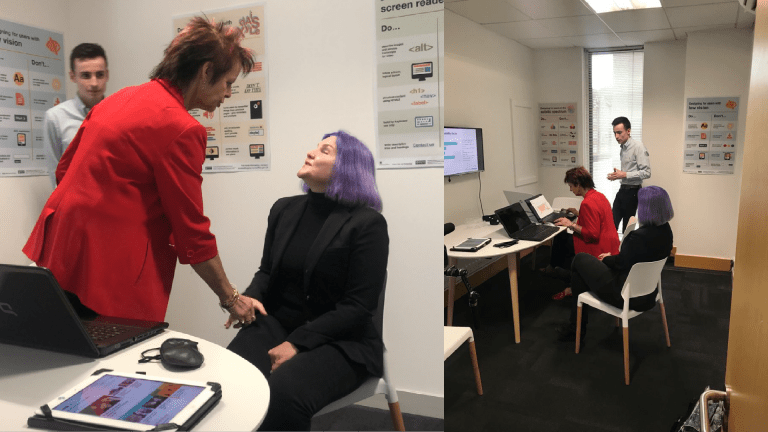 Anne Milton MP and Léonie Watson in Invotra's enABLE lab