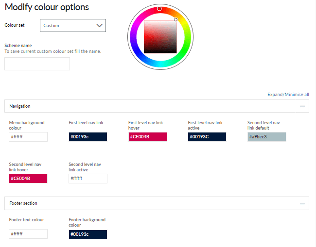 Branding colour options for your intranet design