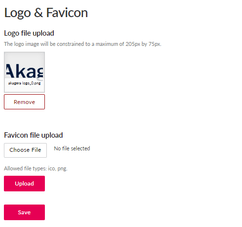 Logo and favicon branding page