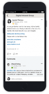 Mobile working through our app which is displaying group posts