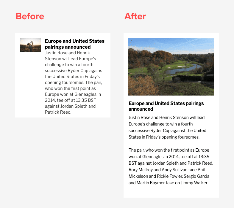 before and after image showing mobile optimisation of images