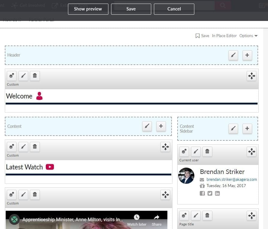 Widgets with content targeting options available in the in place editor