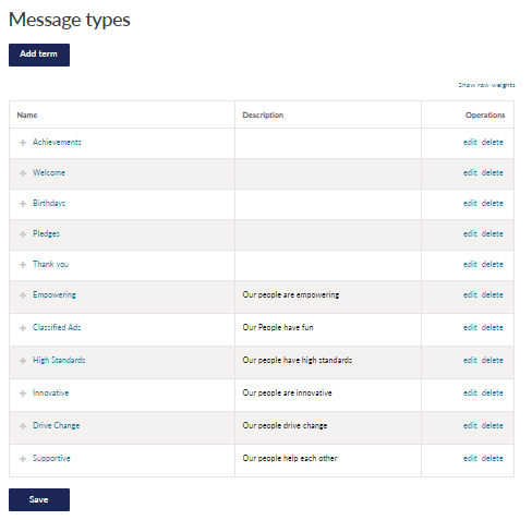 Message types editing page with the option to add a term or edit and delete existing terms