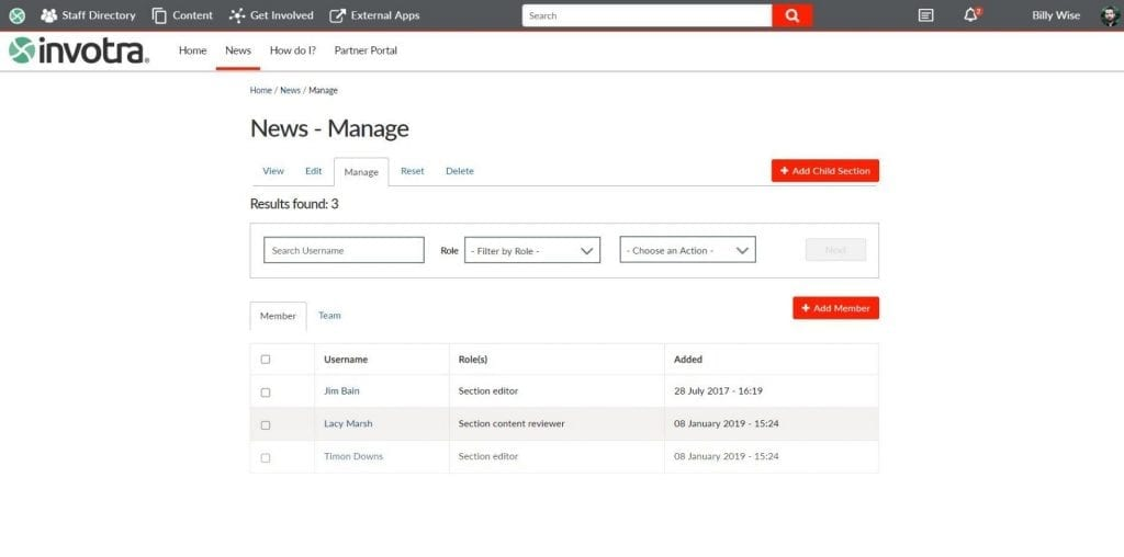 news page with management settings
