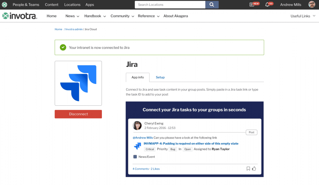 Confirmation message that Jira connected to the intranet by webmaster
