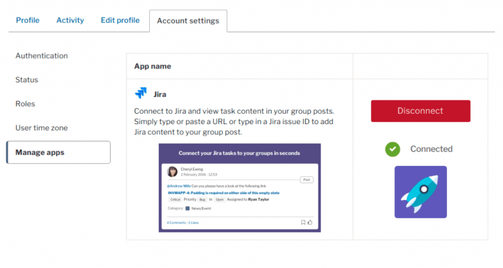 The manage apps tab open in Account settings, confirming the user is connected to Jira and a disconnect button