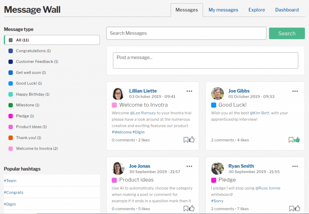 Message wall displaying user messages, message types and hashtags