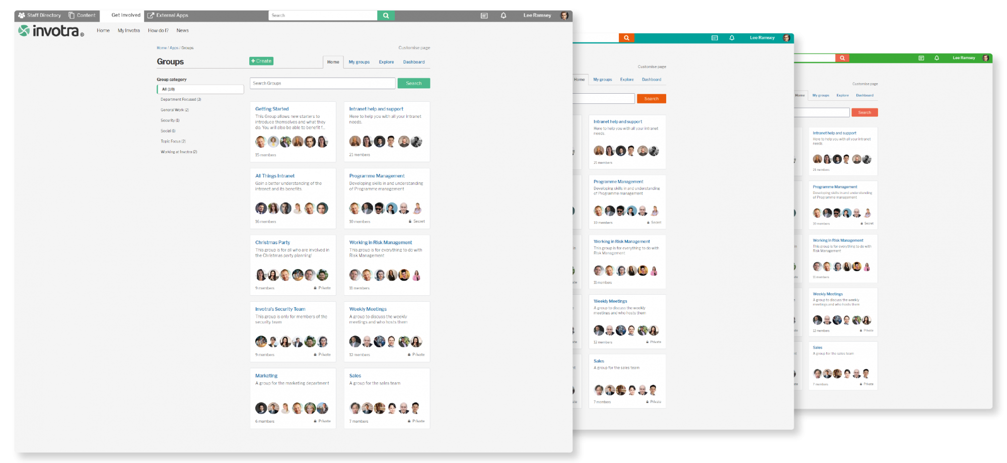 Intranet design - Layered screenshot with shadow