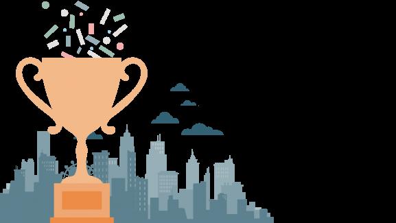 Trophy against a cityscape
