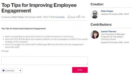 Groups' doc page with top tips for employee engagement