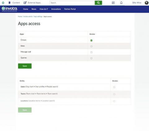 Intranet portal settings on invotra
